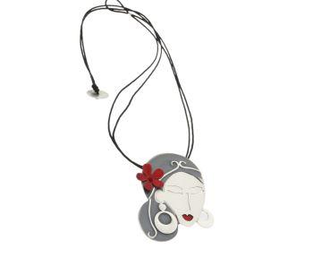Κολιέ σε Ασήμι 925 Χειροποίητο μαυρισμένο με Σμάλτο και κορδόνι #Necklace #Silver #Handmade #Enamel  #handmade #craftsmanship  #goldsmith #Thessaloniki #Greece 26726