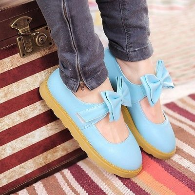 New-Sweet-Womens-Lolita-Flats-Bowtie-Mary-Jane-Round-Toe-Oxfords-Shoes-Plus-Size