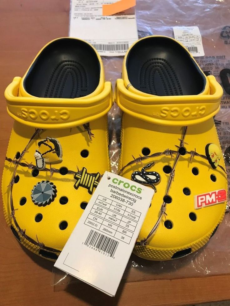 Post Malone X Crocs Barbed Wire Clog Yellow Limited