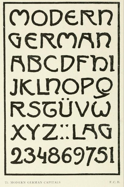 """Modern german capitals  from the public domain ebook, """"Letters & lettering : a treatise with 200 examples (1921)"""". Download this fabulous textbook in epub, pdf or kindle format here: https://archive.org/stream/letterslettering00browuoft"""