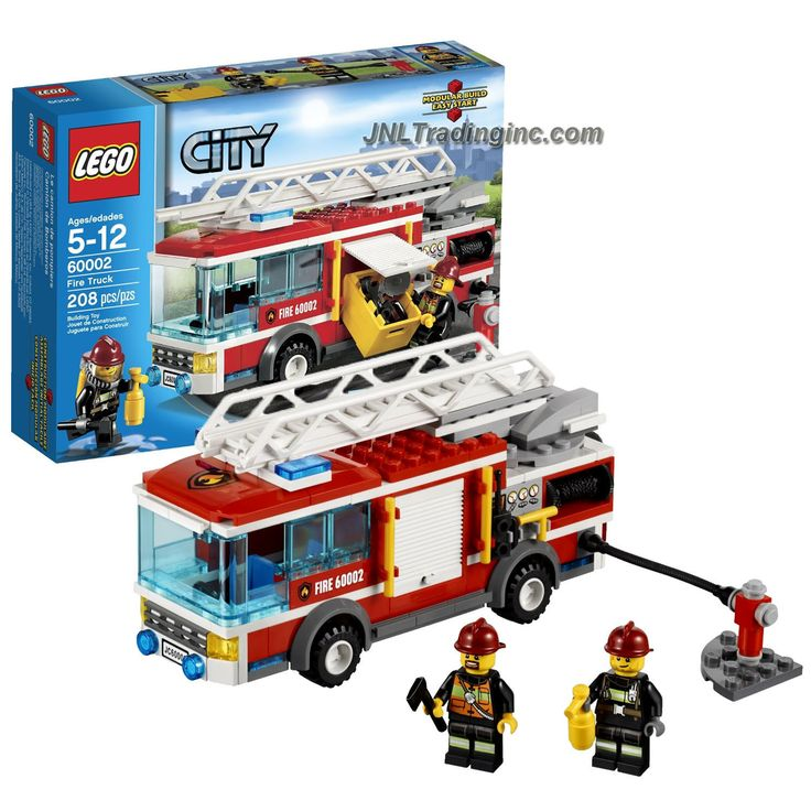 Lego City Series Set #60002 - FIRE TRUCK with Retractable Hose, Extendable Ladder with Rotating Base Plus 2 Firefighter Figure (Piece: 208)