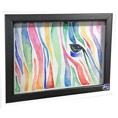 Zebra, cuadro decorativo acuarela #Art3Mas #ArteNaturalmenteMexicano
