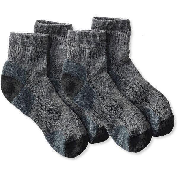 L.L.Bean Women's Ascent Hiking Socks, Lightweight Mini Crew Two-Pack (326.945 IDR) ❤ liked on Polyvore featuring intimates, hosiery, socks, woolen socks, mini socks, wool crew socks, wool socks and moisture wicking socks