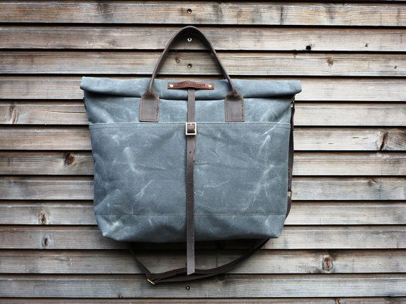 waxed canvas bag carry all/tote bag with roll to close top, and adjustable shoulderstrap UNISEX