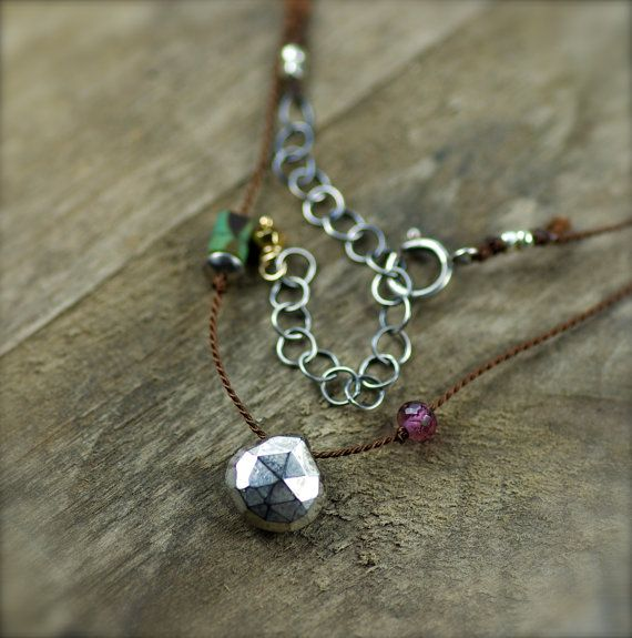 YEAR END CLEARANCE. Silver Pyrite Rubellite Garnet by PoppyLayne