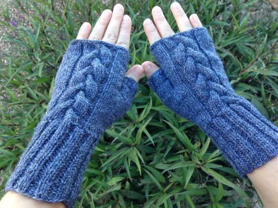 Hand Knitted Fingerless Mittens Gloves Women Size S-M by olinnell