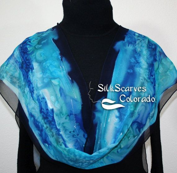 Silk Scarf Blue & Turquoise Hand Painted Chiffon Silk Shawl BLUE MARBLE. Extra-Long 11x90. Silk Scarves Colorado. Birthday Gift. Hand Dyed