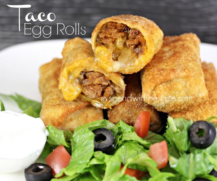 Taco Egg Rolls! Recipe Appetizers with lean ground beef, onions, green pepper, salsa, taco seasoning, egg roll wrappers, shredded cheese, oil