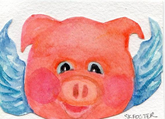 Original ACEO Flying Pig Face Painting by SharonFosterArt on Etsy, $6.50