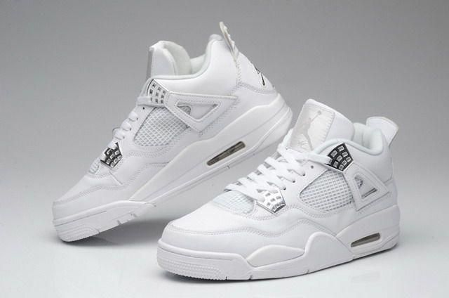 554e604bf1c Nike Air Jordan 4 IV Retro Mens Shoes Anniversary White / Metallic Silver