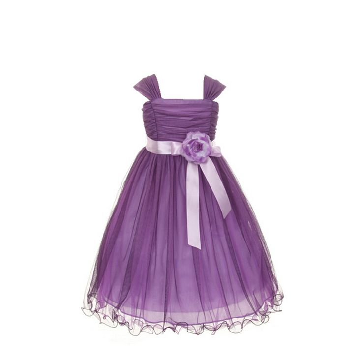 A delicate special occasion plum dress by Princess Diaries will make your little girl feel like a princess. The plum poly-mesh dress has wire hem and is embellished with a plum-lilac flower pin trim and satin ribbon. It comes in multiple color option. Mad