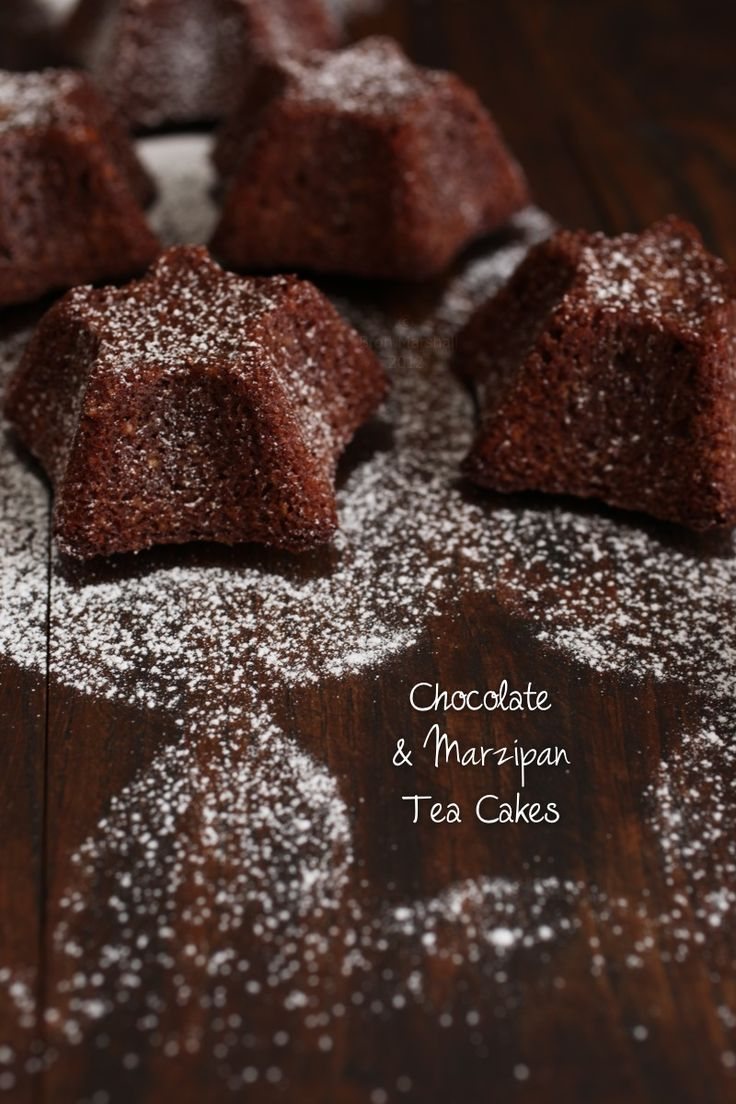 chocolate marzipan tea cakes - instead of making your own marzipan use the Danish Odense Marcipan. The cakes will turn out much tastier!