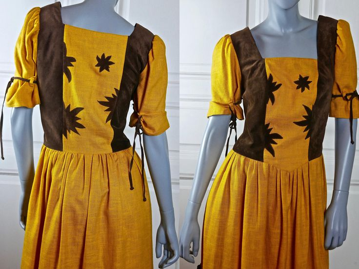 German Vintage Dirndl Dress, Mustard Yellow w Brown Faux Suede Leather Bavarian Octoberfest Dress: Size 10 US, Size 14 UK by YouLookAmazing on Etsy