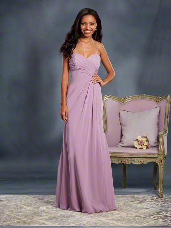 Alfred Angelo Bridal 7373L: long floor length bridesmaid dress with sweetheart neckline, spaghetti straps and an asymmetric waistline