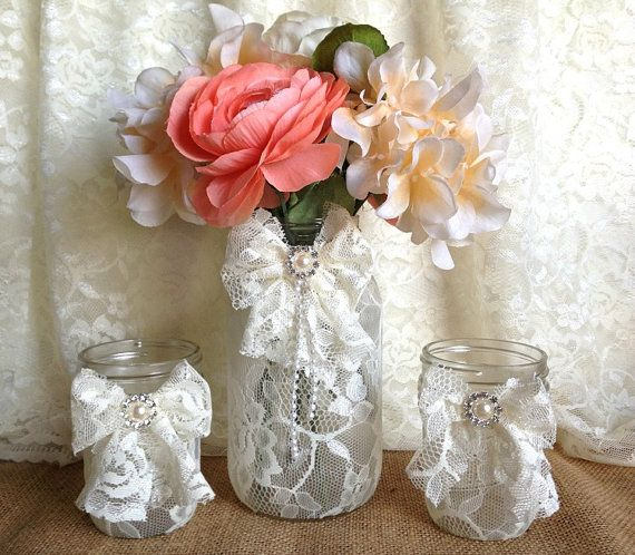 3 Ivory Lace Covered Mason Jars With Lace Bows 1 Vase And 2 Candle Holder Wedding Decor Gift Or