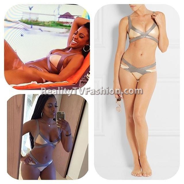 #PorshaWilliams' Beige & Silver Two-Tone Bikini #RHOA
