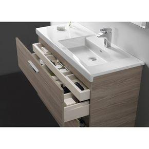 Mueble de baño con dos cajones y lavabo Roca Prisma 80x46