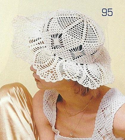 White Lace Hat free crochet graph pattern