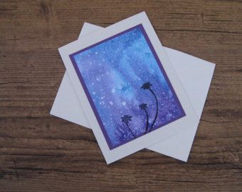 Night sky- watercolour and ink card print by erinkartwork  $4.75CAN Art. Ink. Watercolor. Watercolour. Cards. Greeting cards. Watercolor art. Galaxy Painting.