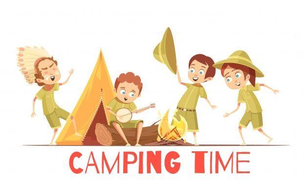 Cartel De Dibujos Animados Retro De Actividades Para El Campamento De Verano Para Ninos Exploradores Tocando C Ninos Exploradores Exploradores Dibujos Animados