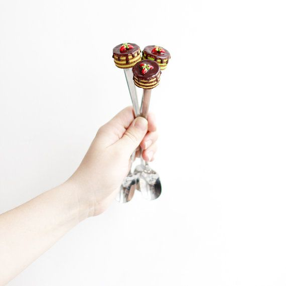 Polymer Clay Spoon Sweet Spoon Chocolate Strawberry by LilacShop