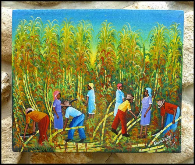 Haitian Sugar Cane Cutters - Hand Painted Canvas Art - 20 x 24*    Original Canvas Paintings -  Art of Haiti - More More Haitian art can be found at www.HaitiGallery.com