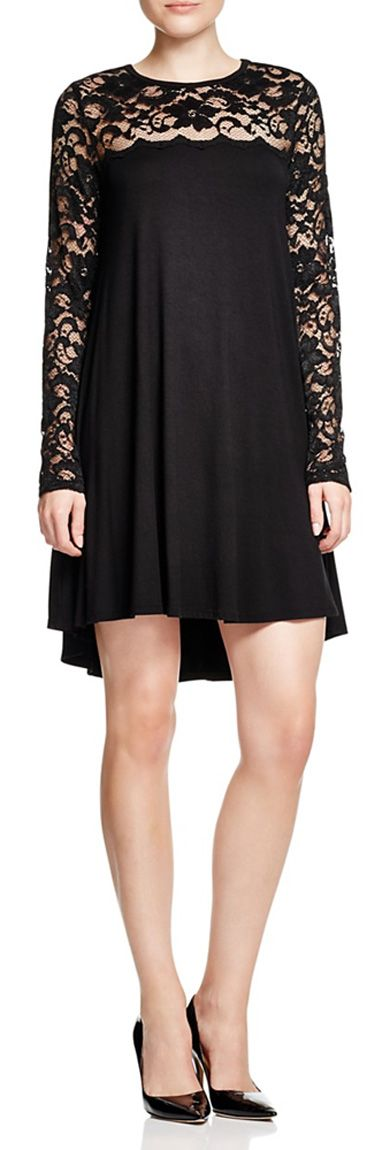 A chic lace dress with an ultra-flattering swing silhouette.