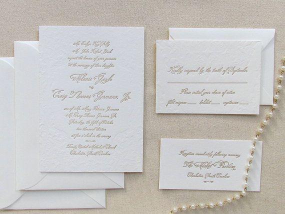 Classic Letterpress Wedding Invitation Suite
