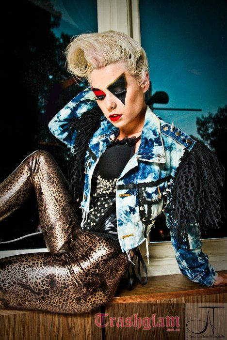 TRASHGLAM designer bleached 80s glam metal GAGA high shoulder DENIM jacket