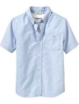 Boys Uniform Oxford Shirts - Even dudes have to look dapper now and then! Great for school uniforms and other dressed-up days, this crisp cotton Oxford adds instant style without the fuss. Features a pointed collar, chest pocket and shirttail hem.