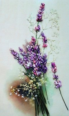 "Embroidered picture ""Lavender"" , Silk ribbon embroidery, wildflowers…"
