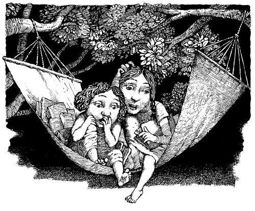 """Magic by the Book"" by Nina Bernstein, FSG/Frances Foster, 2005. Ilustraciones de Boris Kulikov"
