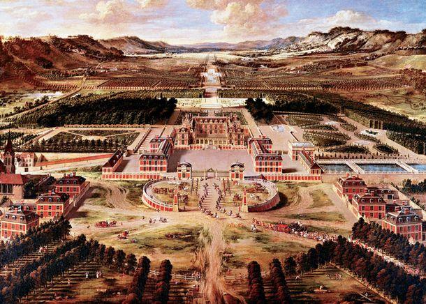 Панорама Версальского дворца и парка. Акварель Пьера Пателя, XVII век.