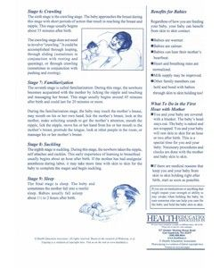 """This double-sided information sheet provides descriptions of a baby's 9 instinctive  behavioural changes in the first hour after birth. Can be used in conjunction with the DVD """"The Magical Hour"""" as a reminder to parents of what to expect. Also available – chart showing the 9 behavours. Size:  A4,  100 sheets per pad. Origin:  USA"""