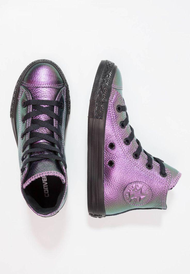 Converse. CHUCK TAYLOR ALL STAR - HI - VIOLET/BLACK/BLACK - YOUTH - Zapatillas altas - violet/black. Suela:fibra sintética. Plantilla:tela. Puntera:redonda. Material interior:tela. Cierre:con cordones. Material exterior:piel