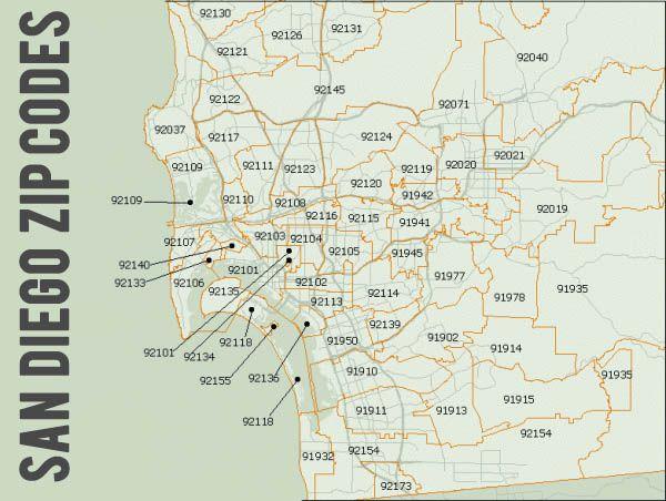 zip code map san diego california San Diego Zip Codes Zip Code Map San Diego San Diego California