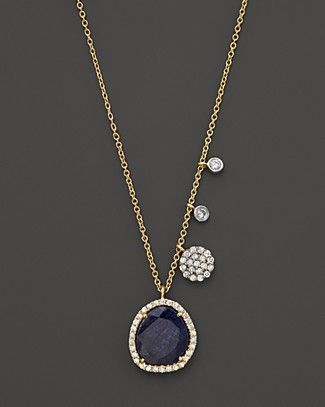Meira T 14K Yellow Gold Blue Sapphire Necklace with Diamonds, .25 ct. t.w. | Bloomingdale's