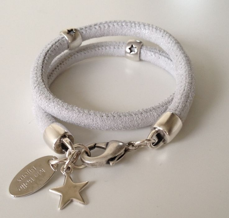 Armband Dubbel Suède All Stars Wit Zilver