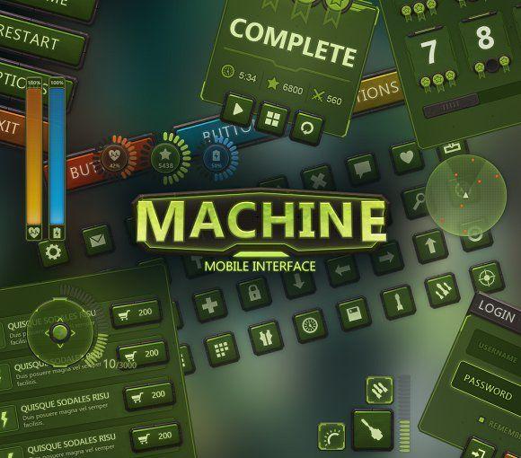 Machine Mobile UI by EvilSystem on @creativemarket