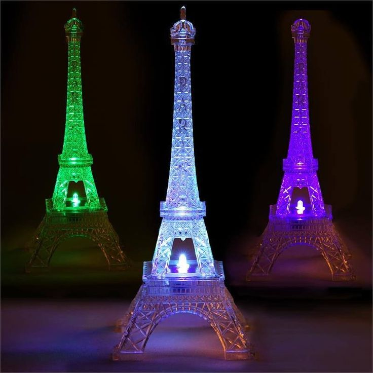 "Quixotic Light Changing Acrylic 10"" Eiffel Tower 