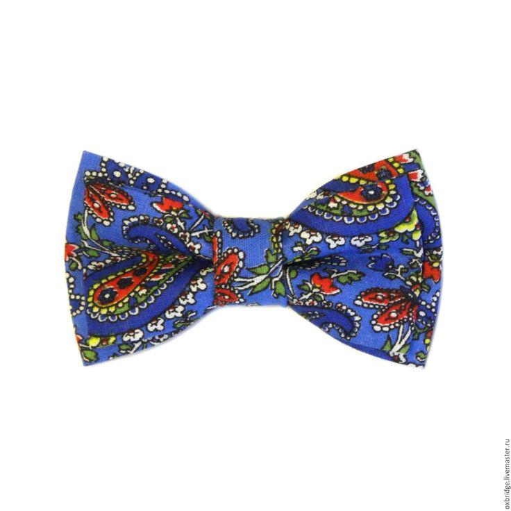 Купить Галстук-бабочка Хохлома синий с принтом пейсли из хлопка - галстук бабочка