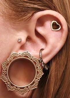 Cool Badass Ear Piercing Ideas and Jewelry for Women and Girls at MyBodiArt.com - Cheroka Brass Ear Gauge Plug Tunnel - Heart Cartilage Earring - Crystal Tragus Stud