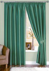 Java Faux Silk Teal Pencil Pleat Curtains (with tiebacks) Our curtains are made to the very highest standards using only top quality linings and designer fabrics from the UK's leading fabric suppliers.