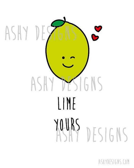LIME YOURS - I'm Yours Citrus Fruit Pun Artwork - 8x10 inch 20x25 cm Print…