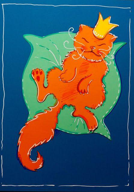 Pikczer For Ticzercat, decor, decoration, dekoracja, dom, home decoration, king, kot, król, lazy cat, poduszka, wycinanka