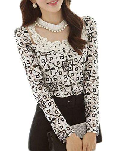 Women's Elegant Slim Long Sleeve Lace Floral Chiffon Tops Shirt Blouse (S)