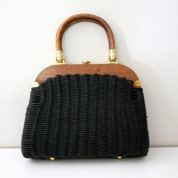 Vintage Black Woven Basket Purse $24