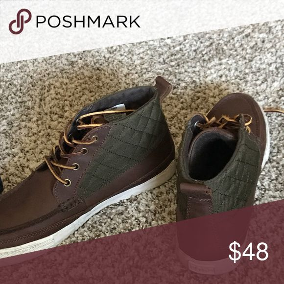 Polo shoes Green brown in white polo shoes only wore one time to a funeral still brand new smell just like the polo store Polo by Ralph Lauren Shoes Sneakers