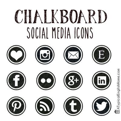 A Typical English Home: Chalkboard Social Media Icons