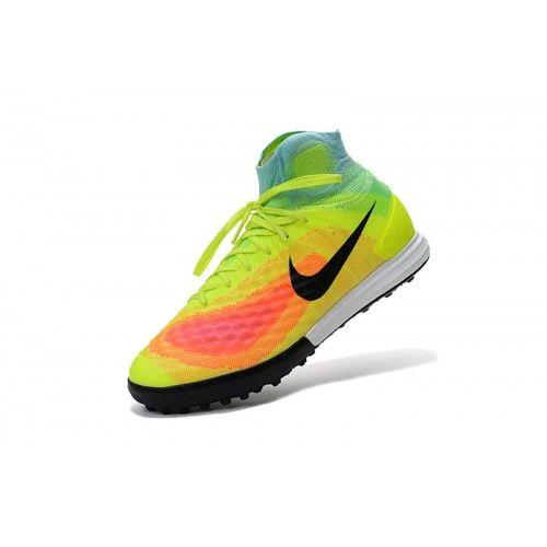Salg Nike MagistaX Proximo II TF Svart Oransje Gul Fotballsko -Salg Nike Magista Fotballsko